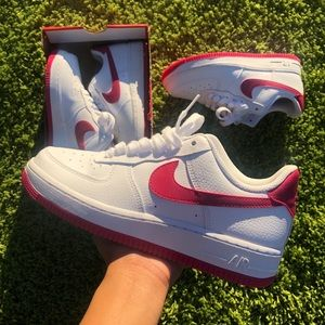 PINK N WHITE AIR FORCES